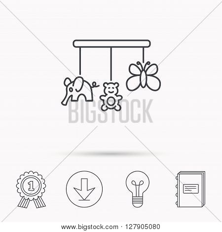 Baby toys icon. Butterfly, elephant and bear sign. Entertainment for newborn symbol. Download arrow, lamp, learn book and award medal icons.