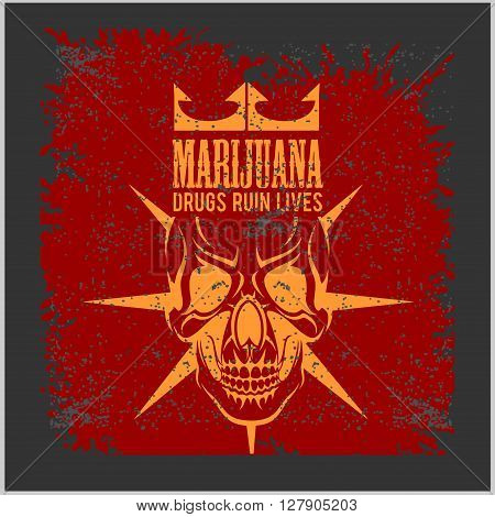 Marijuana Skull on grunge dark background. Vector for prints and tshirts