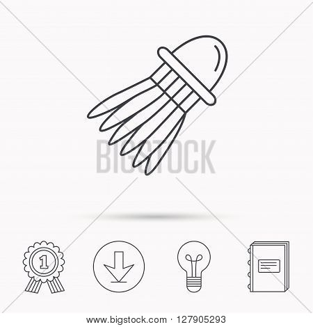 Shuttlecock icon. Badminton sport equipment sign. Speedminton symbol. Download arrow, lamp, learn book and award medal icons.