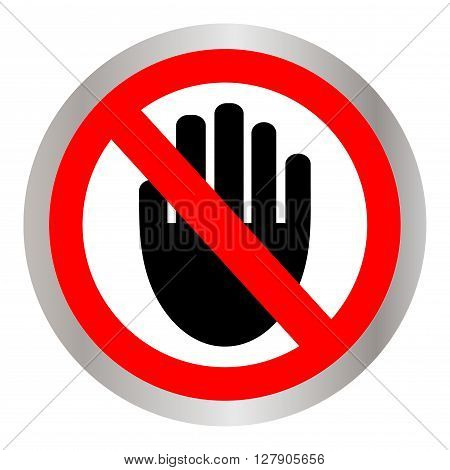 STOP! No entry! Red stop hand sign for prohibited activities. Stop hand Vector illustration, stop hand red badge, stop hand icon, black stop hand picture
