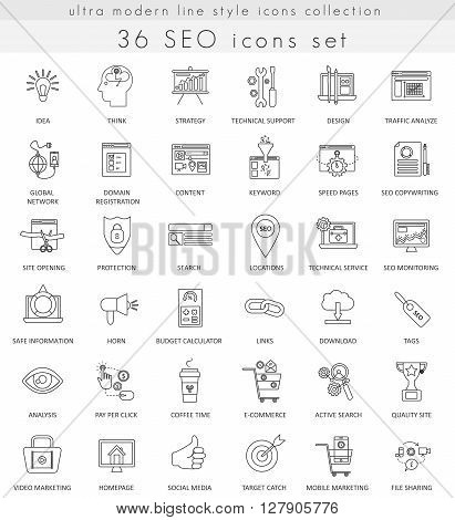 Vector SEO and development ultra modern outline line icons for web and apps
