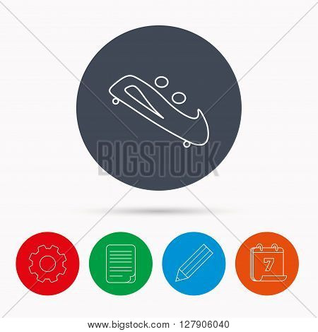 Bobsleigh icon. Two-seater bobsled sign. Professional winter sport symbol. Calendar, cogwheel, document file and pencil icons.