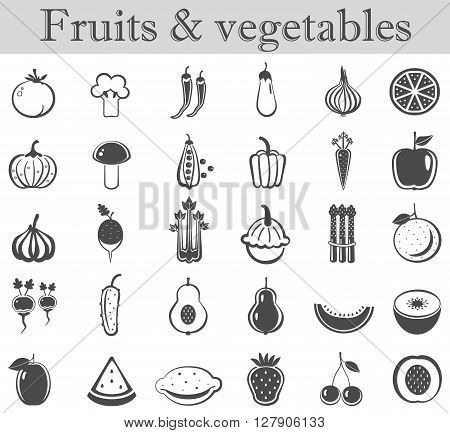 Vector fruits and vegetables black icon set. Dark grey ultra modern icons