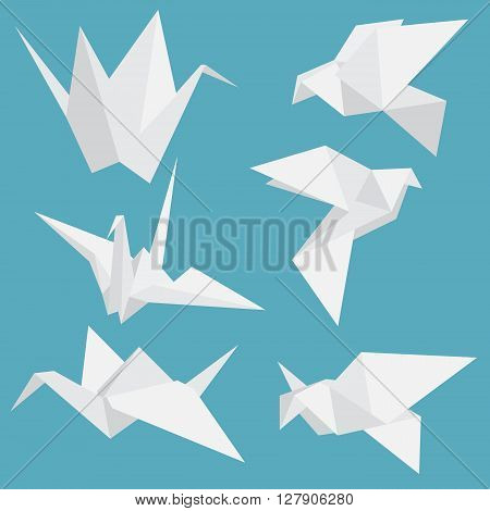 Set of paper cranes origami birds isolated. Vector illustration