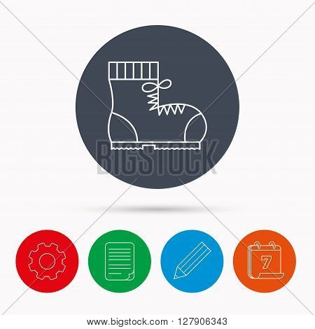 Boot icon. Hiking or work shoe sign. Military footwear symbol. Calendar, cogwheel, document file and pencil icons.