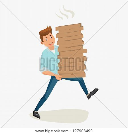 Pizza delivery man holding cardboard boxes. Vector cartoon illustration isolated on white background