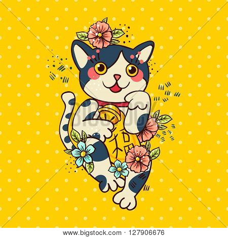 Happy Japanese folklore cat Maneki-neko flowered. Traditional talisman Maneki mascot in the style of old school tattoos. Maneki Amulet for design of cards, good wishes, print on t-shirt