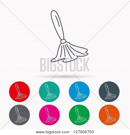 Brush icon. Paintbrush tool sign. Artist instrument symbol. Linear icons in circles on white background.