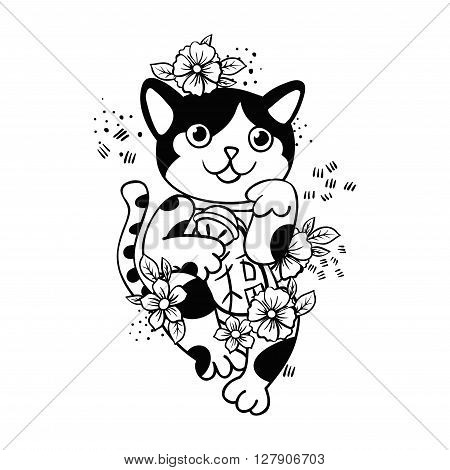Happy Japanese cat Maneki-neko flowered. Traditional mascot in the style of old school tattoos. Amulet for design of cards, good wishes, print on t-shirt