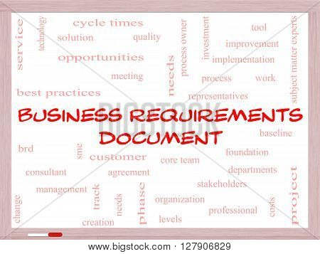 Business Requirements Document Word Cloud Concept On A Whiteboard