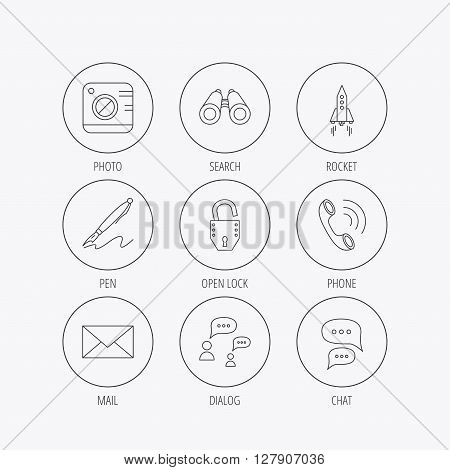 Photo, startup rocket and search icons. Pen, lock and mail linear signs. Dialog chat bubbles, phone call flat line icons. Linear colored in circle edge icons.
