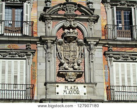 A closeup of the Plaza Mayor facade in Madrid Spain