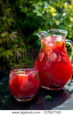 Fresh Homemade Strawberry And Raspberry Lemonade