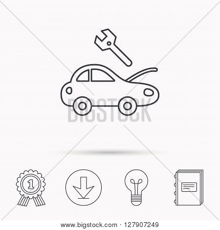 Car service icon. Transport repair with wrench key sign. Download arrow, lamp, learn book and award medal icons.