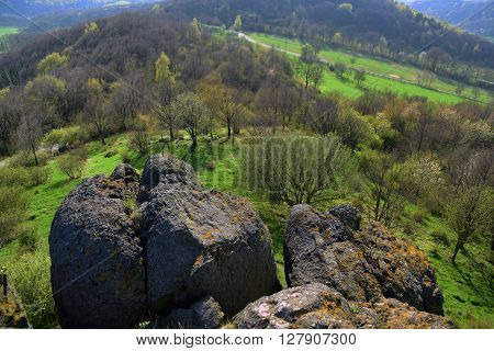 Spring view from Lysa hill in north czech republic