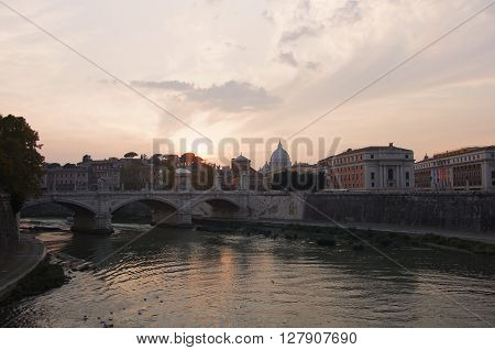 View on sunset over the Tibre Rome Italy