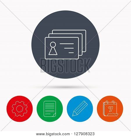 Contact cards icon. Identification badges sign. Identity holder symbol. Calendar, cogwheel, document file and pencil icons.