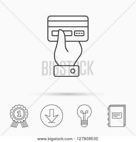 Credit card icon. Giving hand sign. Cashless paying or buying symbol. Download arrow, lamp, learn book and award medal icons.