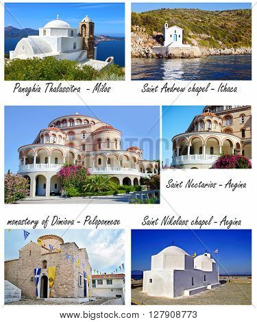 collage of greek churches and chapels - greek Orthodox church photos