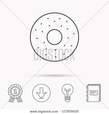 Donut icon. Sweet doughnuts sign. Breakfast dessert symbol. Download arrow, lamp, learn book and award medal icons.