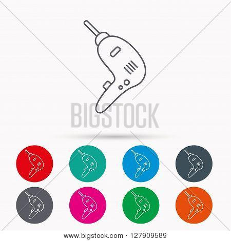 Drill tool icon. Electric jack-hammer sign. Linear icons in circles on white background.