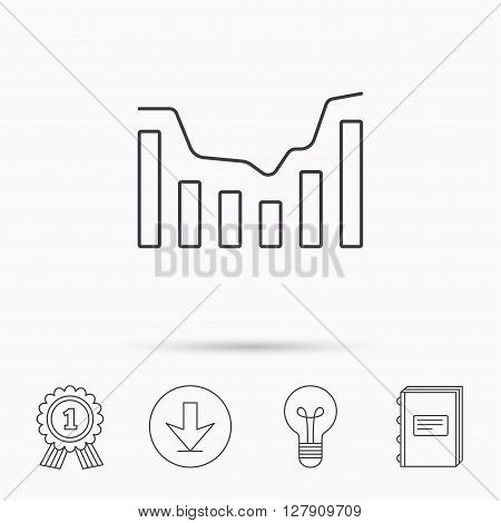 Dynamics icon. Statistic chart sign. Growth infochart symbol. Download arrow, lamp, learn book and award medal icons.