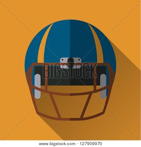 Football helm icon full face football helm flat design symbol with long shadow vector