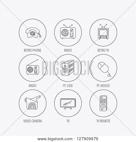 Radio, TV remote and video camera icons. Retro phone, PC case and mouse linear signs. Linear colored in circle edge icons.