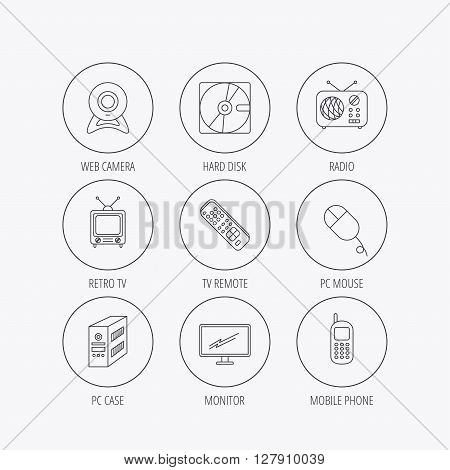 Web camera, radio and mobile phone icons. Monitor, PC case and TV remote linear signs. Hard disk and PC mouse icons. Linear colored in circle edge icons.