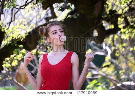 Attractive Woman With Spring Tree