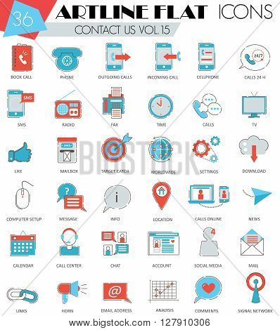 Vector contact us ultra modern outline artline flat line icons for web and apps