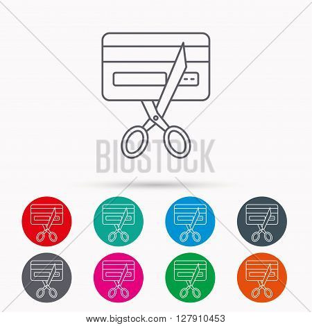 Expired credit card icon. Shopping sign. Linear icons in circles on white background.