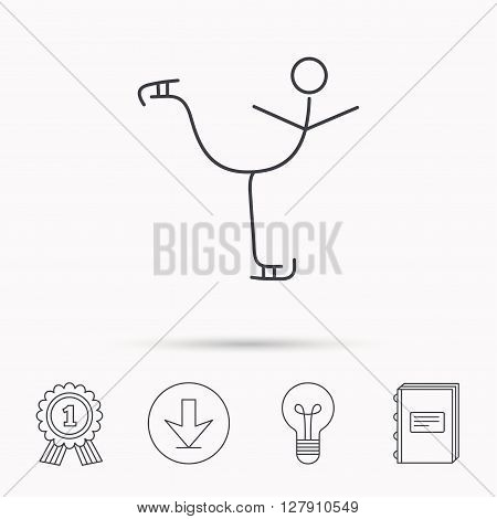 Figure skating icon. Professional winter sport sign. Download arrow, lamp, learn book and award medal icons.