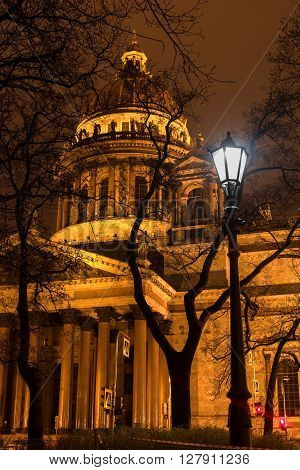 St Isaac Cathedral in Petersburg. Night Photography.  Close-up