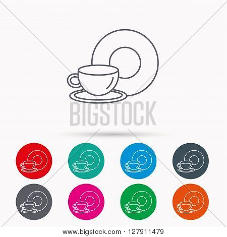Coffee cup icon. Food and drink sign. Linear icons in circles on white background.