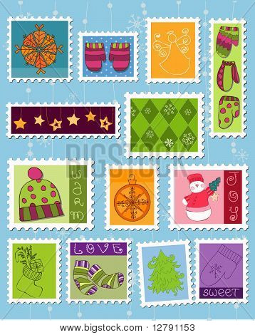 Winter Christmas Postage Stamps