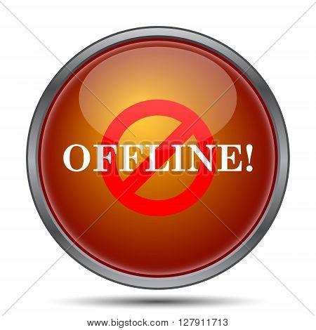 Offline icon. Orange internet button on white background.