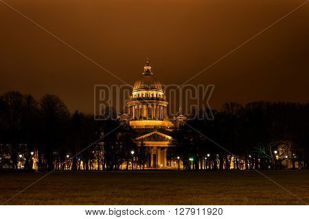 St Isaac Cathedral in Petersburg. Night Photography.  View of the Neva.