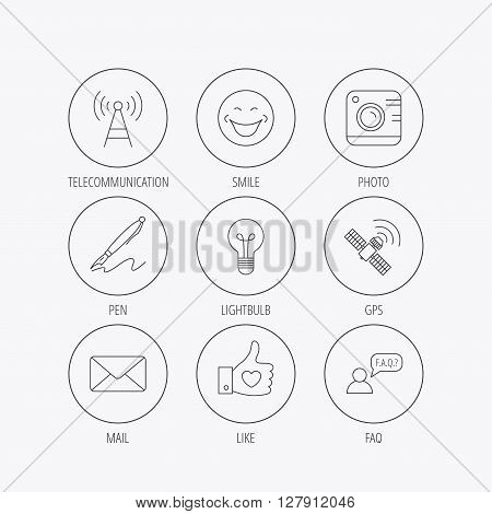 Mail, photo camera and lightbulb icons. Pen, GPS and telecommunication linear signs. FAQ, like and smile icons. Linear colored in circle edge icons.