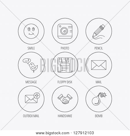 Photo camera, pencil and handshake icons. Inbox e-mail, message speech bubble and smile linear signs. Linear colored in circle edge icons.
