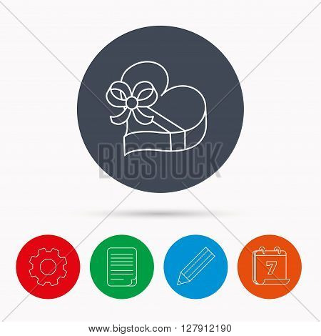 Love gift box icon. Heart with bow sign. Calendar, cogwheel, document file and pencil icons.