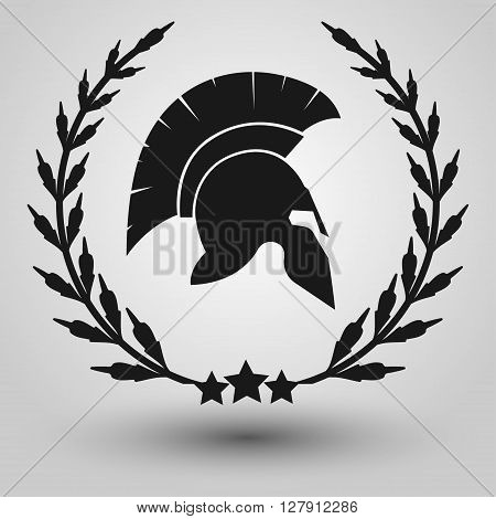 Spartan Helmet silhouettes with laurel wreath, symbol of gladiator soldier or greek warrior or roman legionary, helmet hero sign, vector