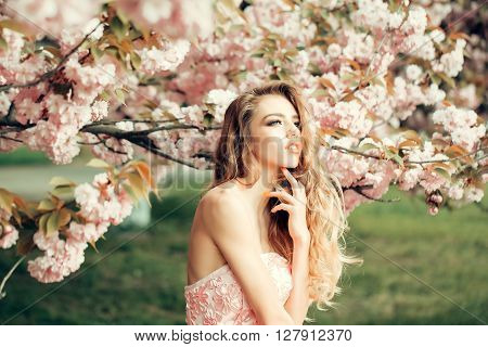 Fashionable Woman In Blossom