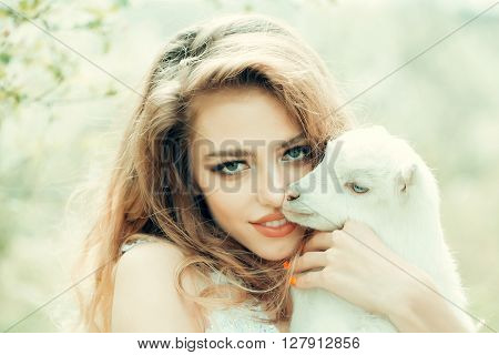 Pretty Girl With Goat
