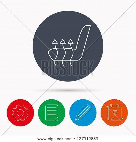 Heated seat icon. Warm autoarmchair sign. Calendar, cogwheel, document file and pencil icons.