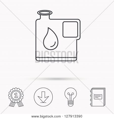 Jerrycan icon. Petrol fuel can with drop sign. Download arrow, lamp, learn book and award medal icons.