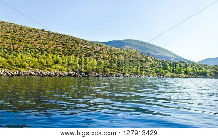 landscape of mountains at Ithaca Ionian islands Greece