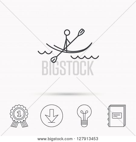 Kayaking on waves icon. Rafting or canoeing sign. Boating sport symbol. Download arrow, lamp, learn book and award medal icons.