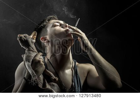 Smoking Guy And Sphynx Cat