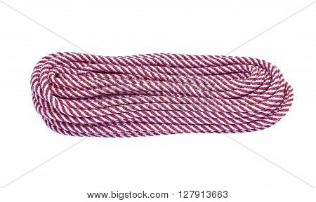 Hank of the long red and white climbing rope isolated on white background